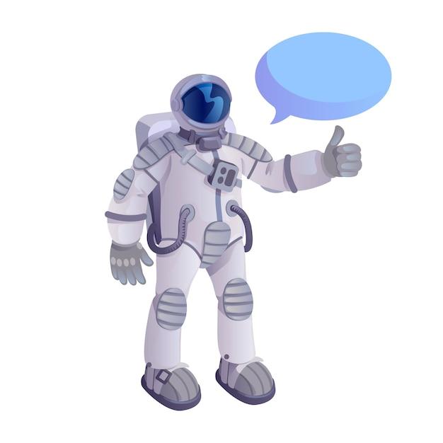 Astronaut zeigt daumen oben flache karikaturillustration lokalisiert Premium Vektoren
