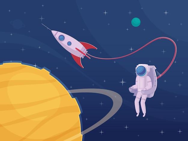 Astronauten-extravehikuläres tätigkeits-karikatur-plakat Kostenlosen Vektoren