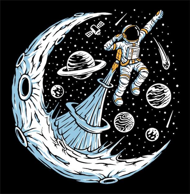 Astronauten fliegen illustration Premium Vektoren