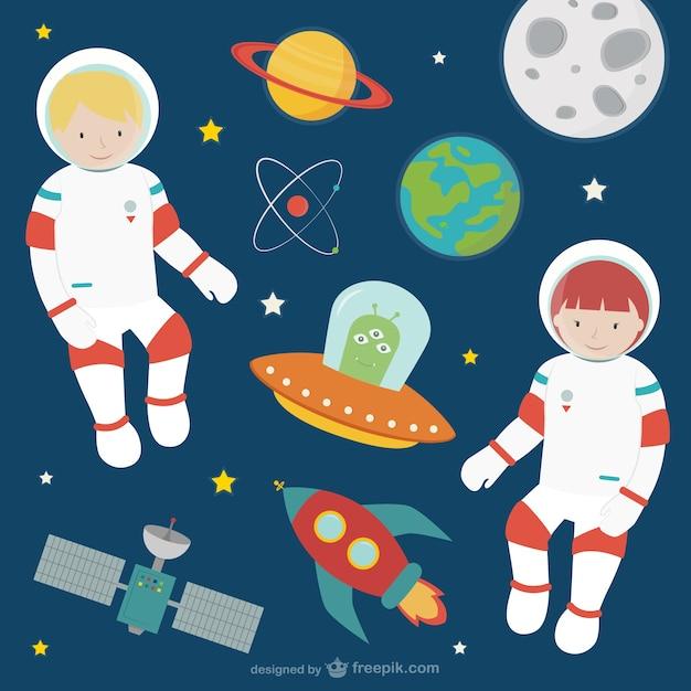 Astronauten im weltraum Kostenlosen Vektoren