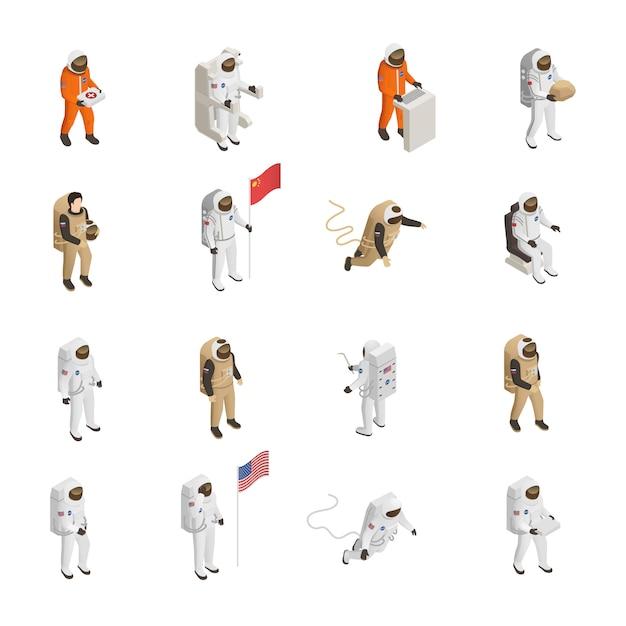 Astronauten kosmonauten raumanzug zeichensatz Kostenlosen Vektoren