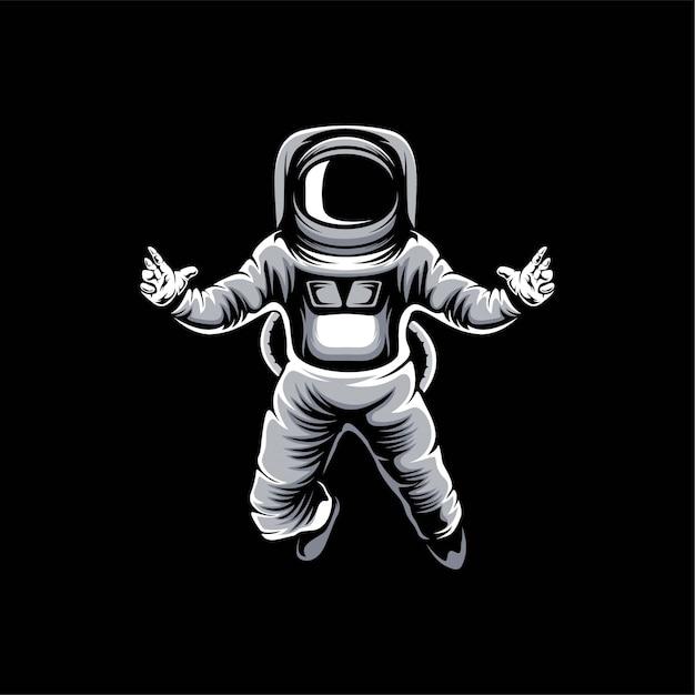 Astronauten-logo-designillustration Premium Vektoren