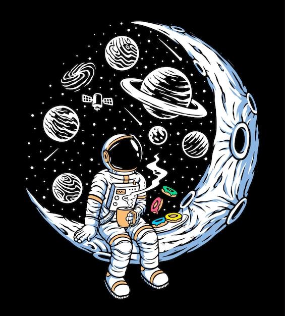 Astronauten trinken kaffee und essen donuts Premium Vektoren