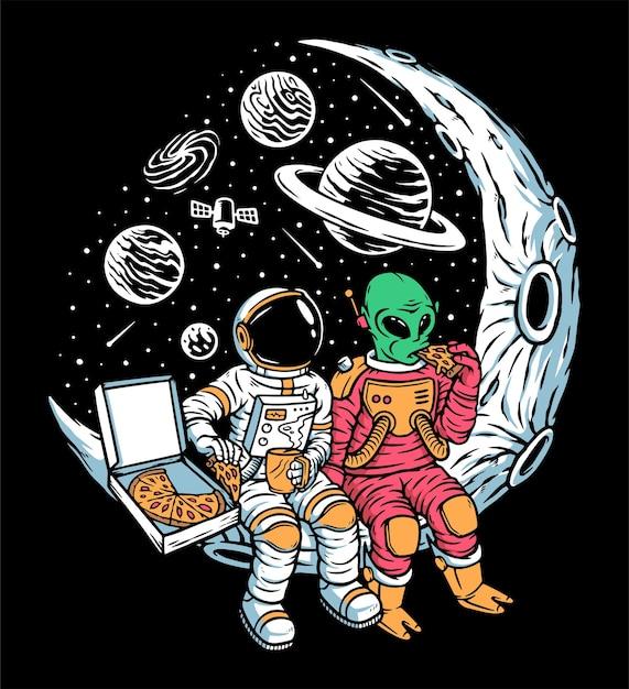 Astronauten und außerirdische chillen zusammen auf der mondillustration Premium Vektoren