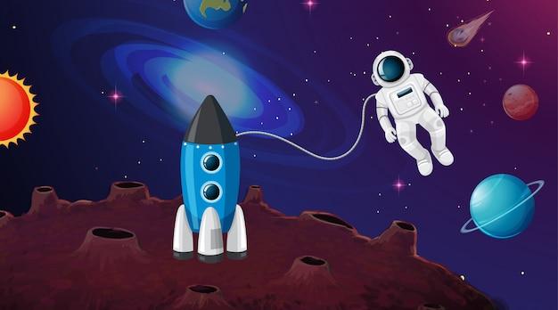 Astronauten- und raketenszene oder -hintergrund Kostenlosen Vektoren