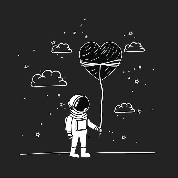 Astronauten zeichnen mit herz Kostenlosen Vektoren