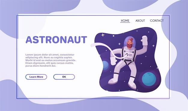 Astronautenfigur, die den weltraum erforscht. futuristischer kosmonaut im raumanzug beim gehen und fliegen. karikaturvektorillustration. Premium Vektoren