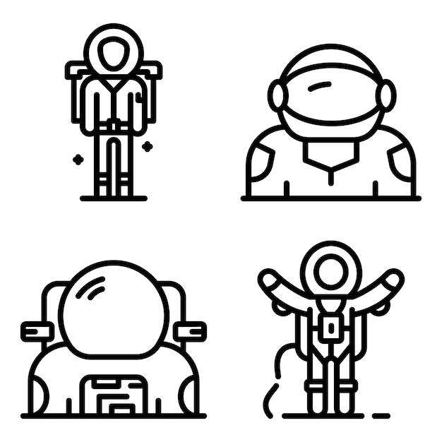 Astronautenikonen eingestellt, entwurfsart Premium Vektoren