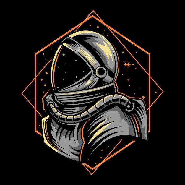 Astronautenillustration mit geometriedunkelheit Premium Vektoren