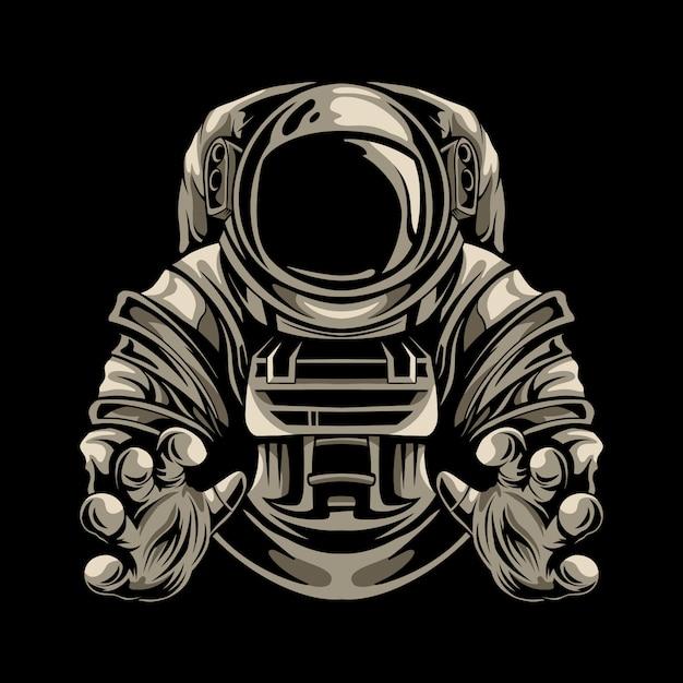 Astronautenillustrationsentwurf isoliert Premium Vektoren