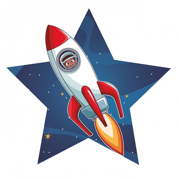 Astronautenjunge in der rakete Premium Vektoren