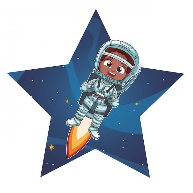 Astronautenjungenkarikatur Premium Vektoren