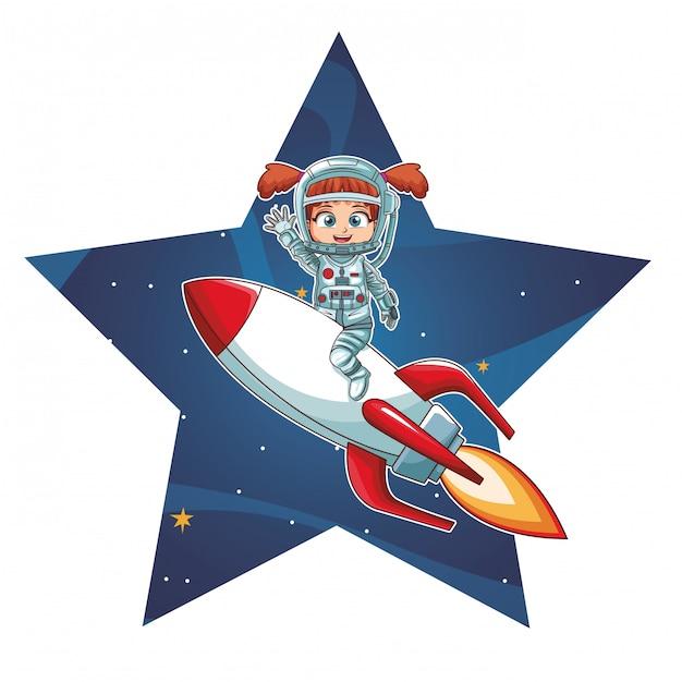 Astronautenmädchen auf raumschiff Premium Vektoren