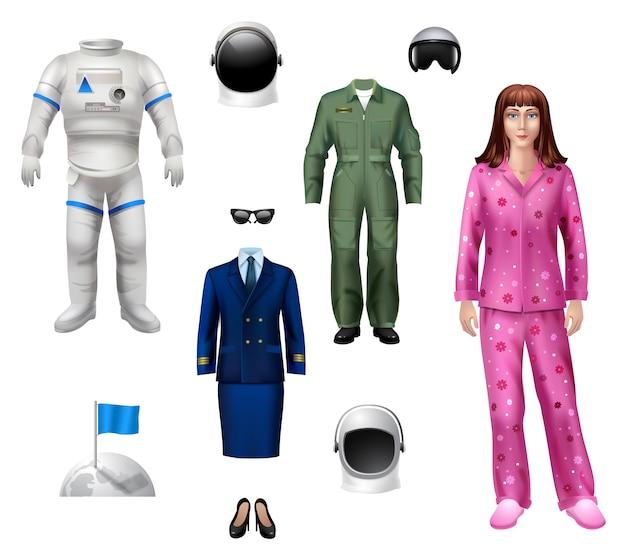 Astronautenmädchen-charaktersatz Kostenlosen Vektoren