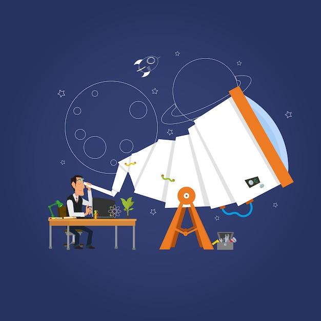 Astronom, der die sterne im teleskop studiert. Premium Vektoren