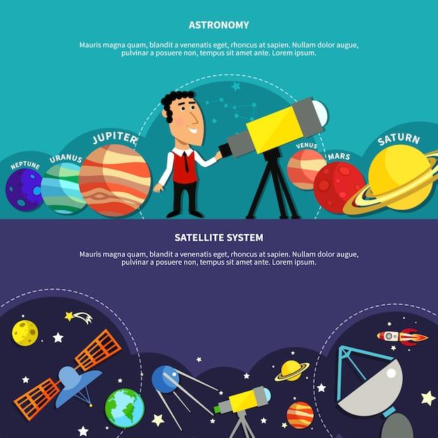 Astronomie-banner eingestellt Kostenlosen Vektoren