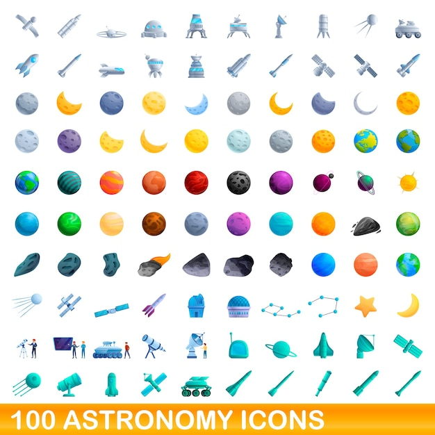 Astronomie-ikonen eingestellt. karikaturillustration von astronomie-ikonen auf weißem hintergrund eingestellt Premium Vektoren