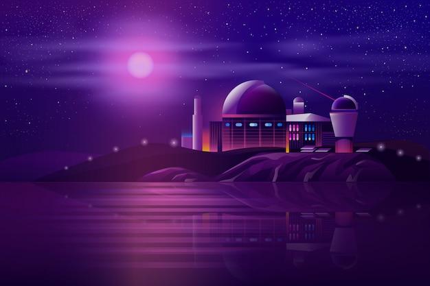 Astronomisches observatorium teleskopkarikatur Kostenlosen Vektoren
