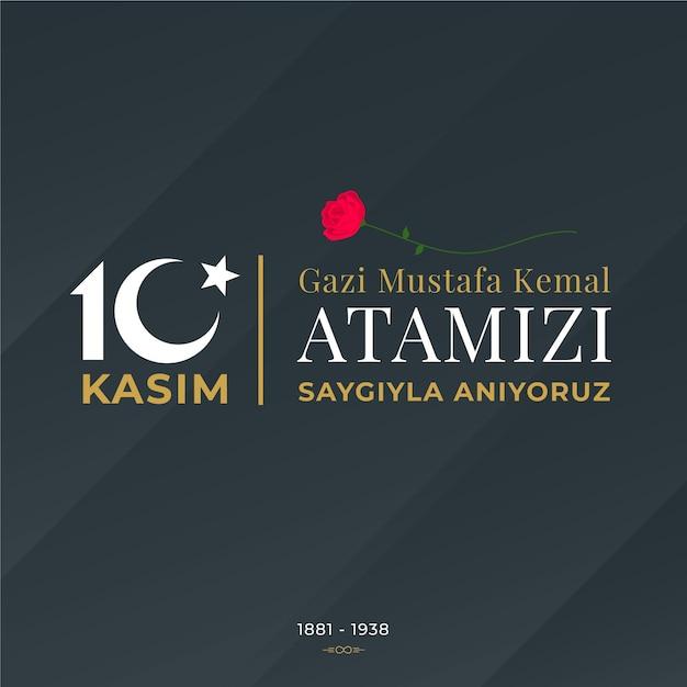 Atatürk-gedenktag des flachen entwurfs Premium Vektoren