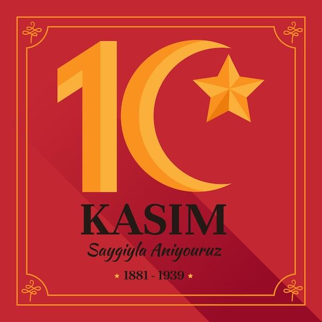 Atatürk-gedenktag des flachen entwurfs Kostenlosen Vektoren
