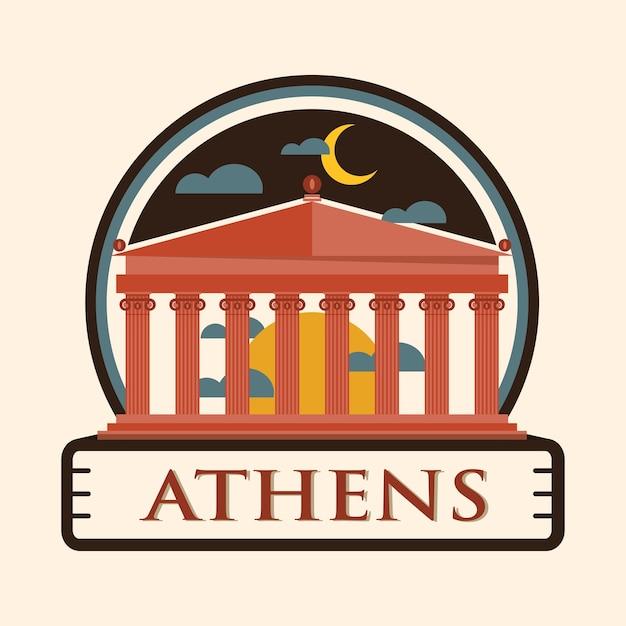 Athen stadt abzeichen, griechenland Premium Vektoren