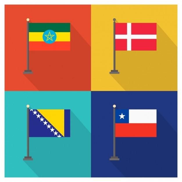 Äthiopien Dänemark Bosnien und Herzegowina und Chile Flaggen Kostenlose Vektoren