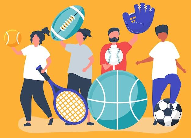Athleten, die verschiedene sportikonen tragen Kostenlosen Vektoren