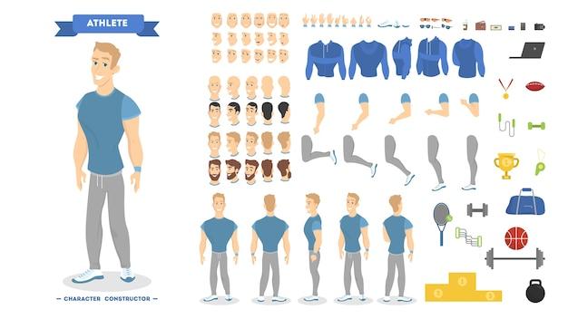 Athletischer mann-zeichensatz für animation mit verschiedenen ansichten, frisuren, emotionen, posen und gesten. schulausrüstungsset. isolierte vektorillustration Premium Vektoren
