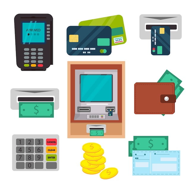 Atm-geldautomaten-vektorikonen eingestellt. Premium Vektoren