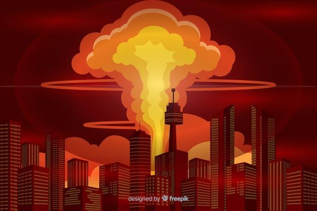 Atomexplosionsillustrations-karikaturart Kostenlosen Vektoren