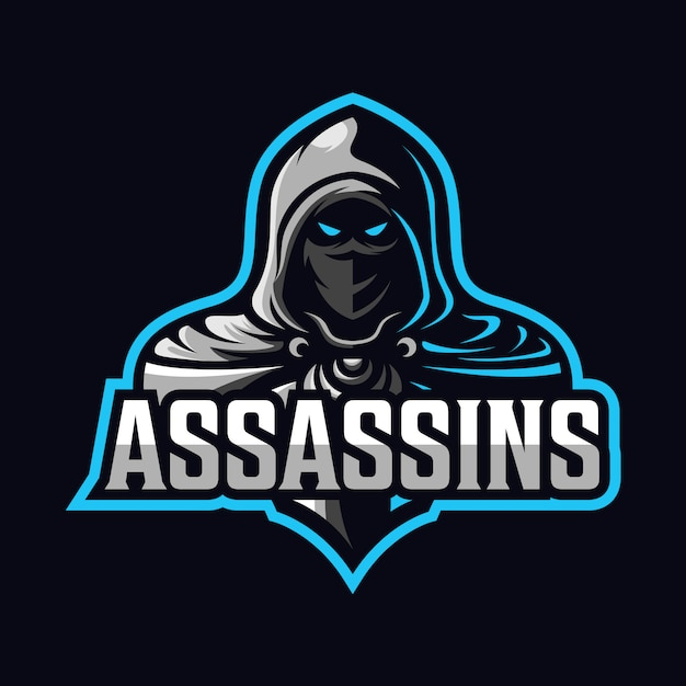 Attentäter maskottchen sport-logo Premium Vektoren