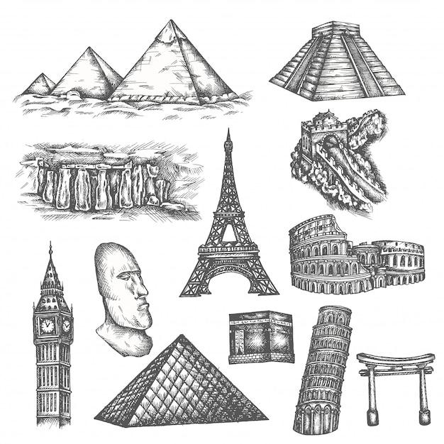Attraktionen der welt im sketch-stil. Premium Vektoren