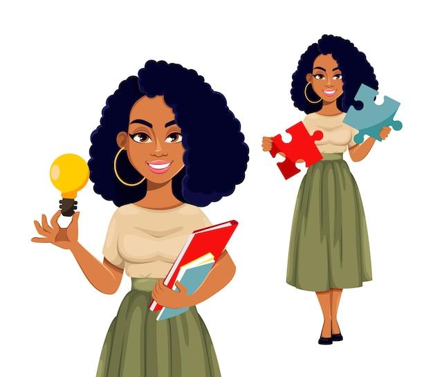 Attraktive afroamerikanische geschäftsfrau Premium Vektoren