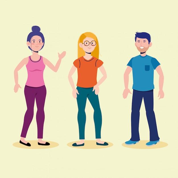Attraktive jungen und mädchen, die mit freizeitkleidung sprechen Premium Vektoren