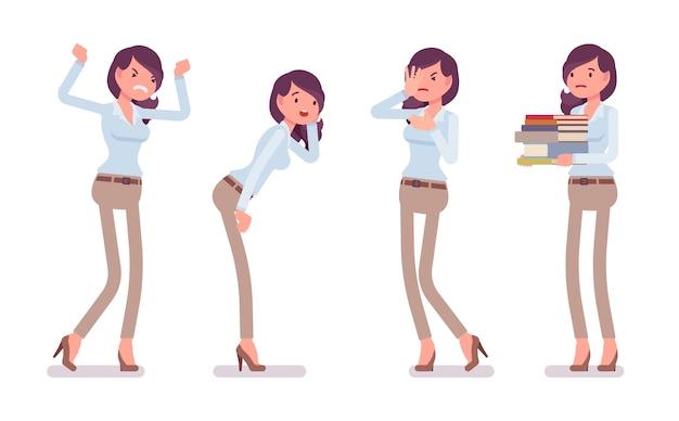 Attraktive unglückliche junge frau im geknöpften hemd und in der schmalen chinohose des kamels, negative gefühle. business stilvolle workwear trend und office city mode. stil cartoon illustration Premium Vektoren