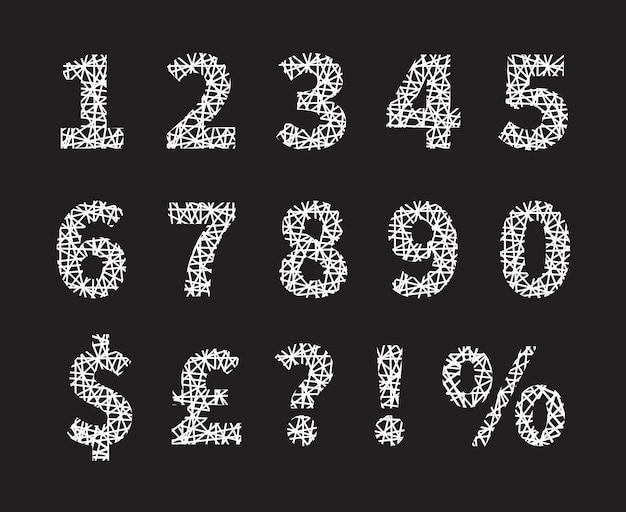 Attraktive weiß gekreuzte schriftnummer und symbolentwürfe und grauer hintergrund. Kostenlosen Vektoren