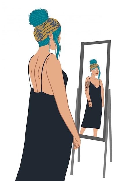 Attraktiver mädchencharakter, der vor dem spiegel steht und ein spiegelbild betrachtet. Premium Vektoren