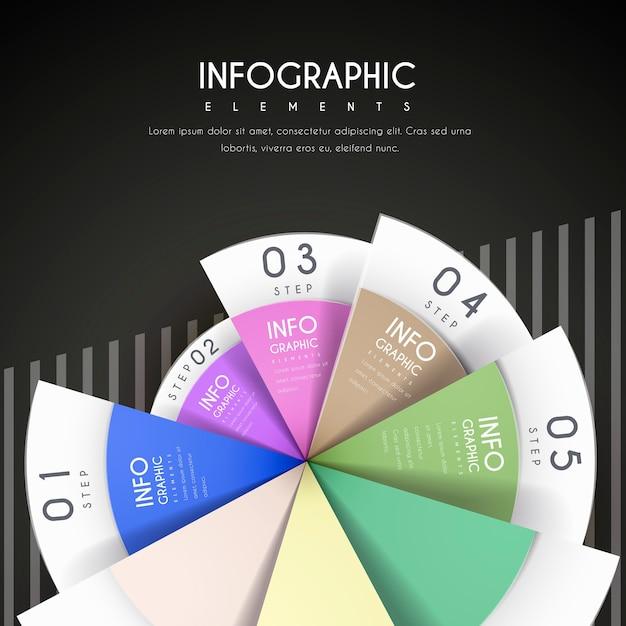 Attraktives infografik-design mit kreisdiagrammelementen Premium Vektoren
