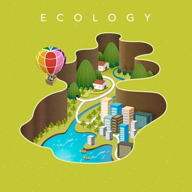 Attraktives isometrisch-ökologisches konzept Premium Vektoren