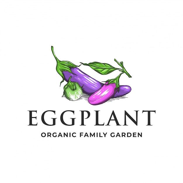 Auberginen-bio-familiengarten-logo Premium Vektoren
