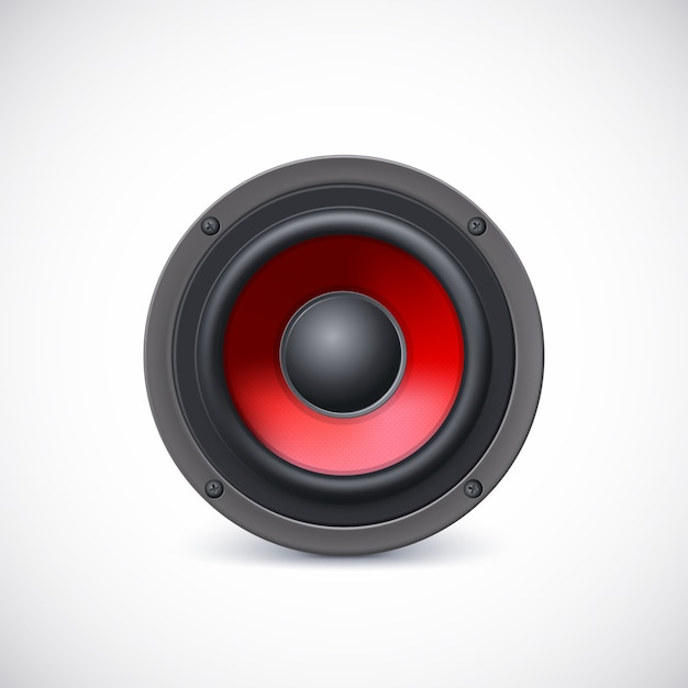 Audio-lautsprecher mit rotem diffusor Premium Vektoren