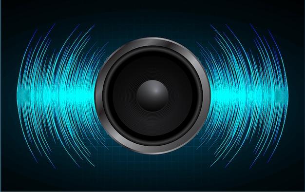 Audio-lautsprecher und schallwelle Premium Vektoren