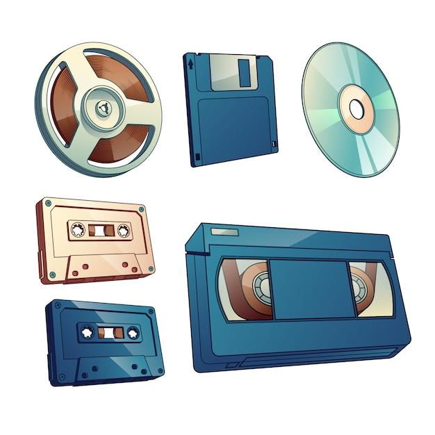 Audio- und filmaufzeichnungen, informationsweinleseträgerkarikatursatz lokalisiert auf weißem hintergrund. Kostenlosen Vektoren