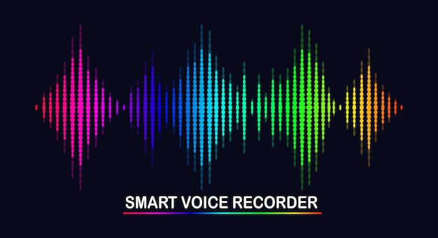 Audiowelle vom equalizer. musikfrequenz im farbspektrum. Premium Vektoren