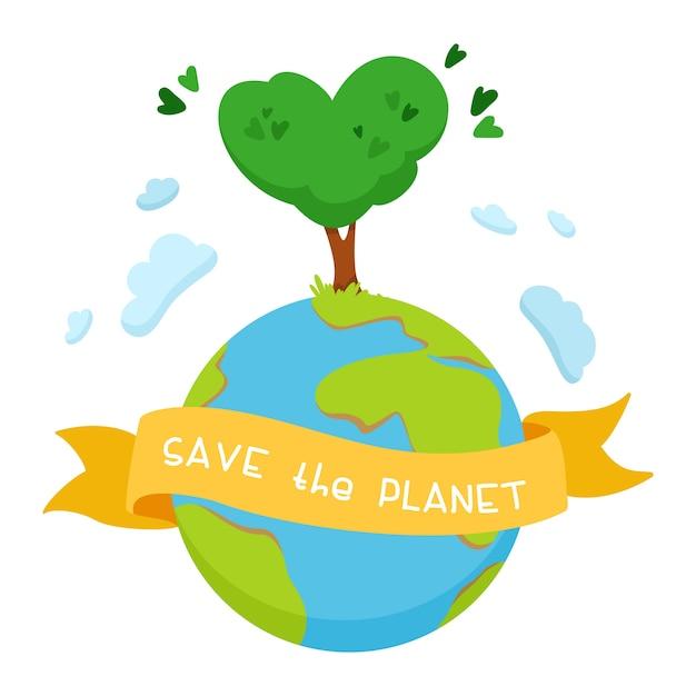 Auf dem planeten erde ein baum mit einer krone in form eines herzens. band mit den worten retten den planeten. das konzept des umweltschutzes, der ökologie. Kostenlosen Vektoren