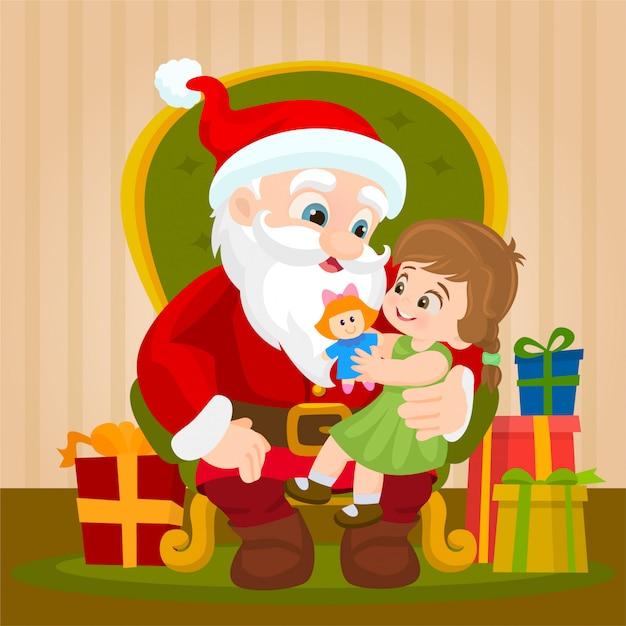 Auf dem weihnachtsmann schoß sitzen Premium Vektoren