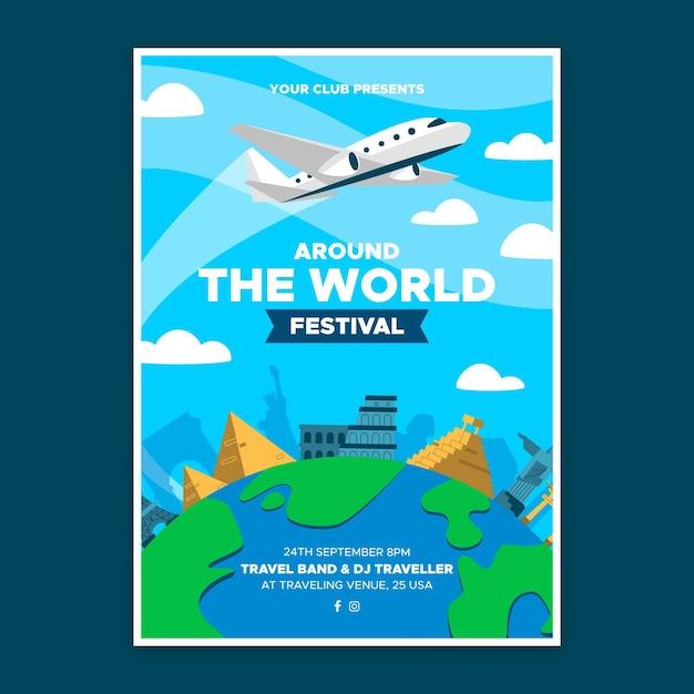 Auf der ganzen welt festival poster vorlage Kostenlosen Vektoren