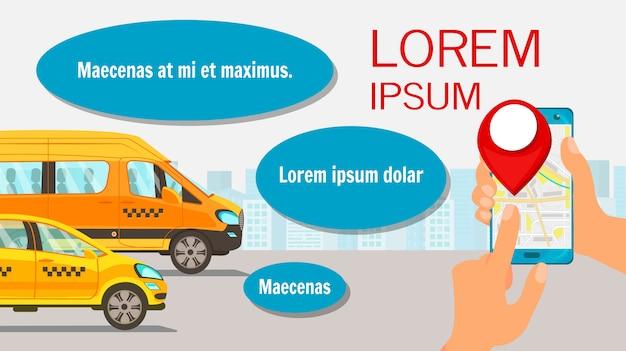 Auf der suche nach taxi driver flat web banner template Premium Vektoren