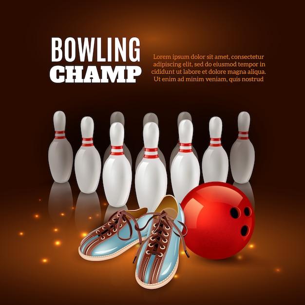 Aufbau des bowlingspielchampions 3d von der roten kugel und den schuhen der stifte auf dunkelheit mit funken Kostenlosen Vektoren
