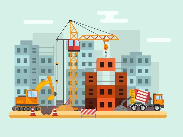 Aufbauen im bau, arbeitskräfte und technische vektorillustration des baus Premium Vektoren